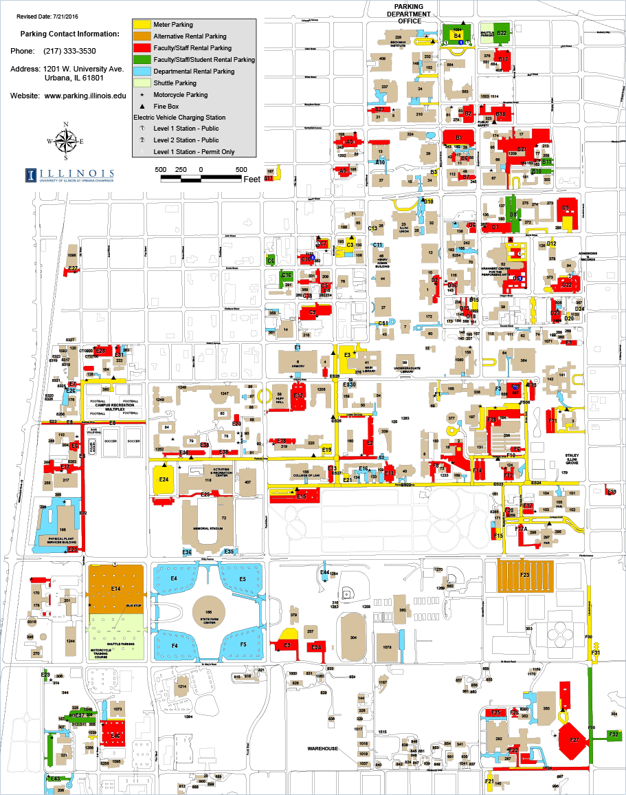 University Of Illinois Campus Map Campus Parking Map | Parking Services